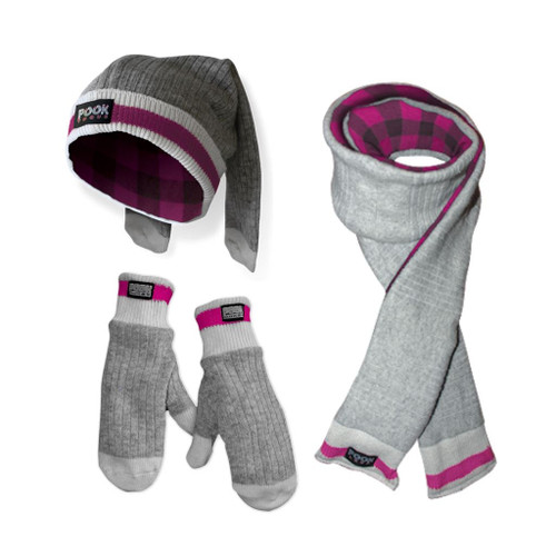 Toque / Scarf / Mitten Set (Pink Plaid) Pink Plaid by Pook