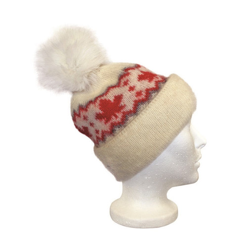 Icelandic Wool Ladies Maple Leaf PomPom Toque (Cream / Red) by Freyja