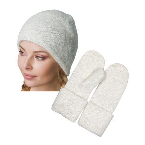 Icelandic Wool Ladies Toque / Mitten Set (Winter White) by Freyja