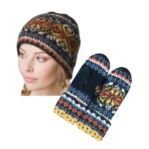 Icelandic Wool Ladies Toque / Mitten Set (Black / Mustard) by Freyja