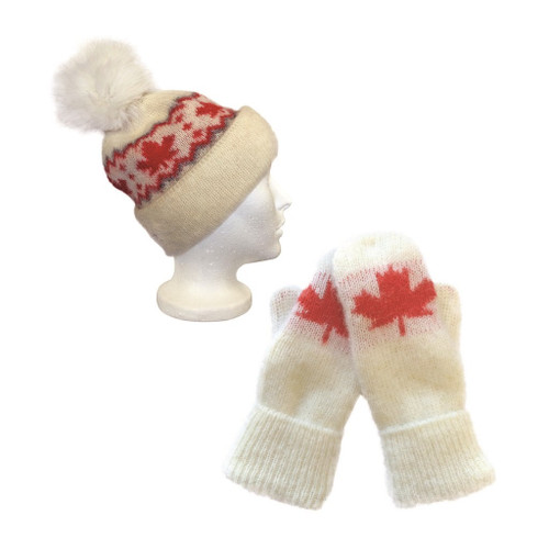Icelandic Wool Ladies Maple Leaf PomPom Toque / Mittens Set (Cream / Red) by Freyja