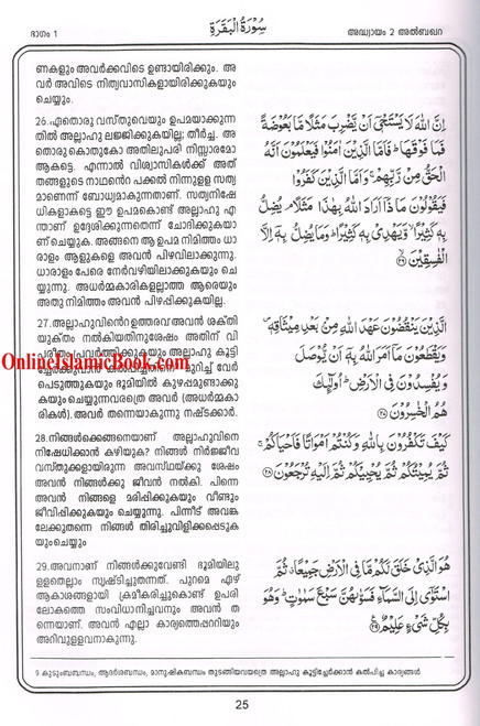 Quran in Malayalam Language ( Arabic To Malayalam Translation)
