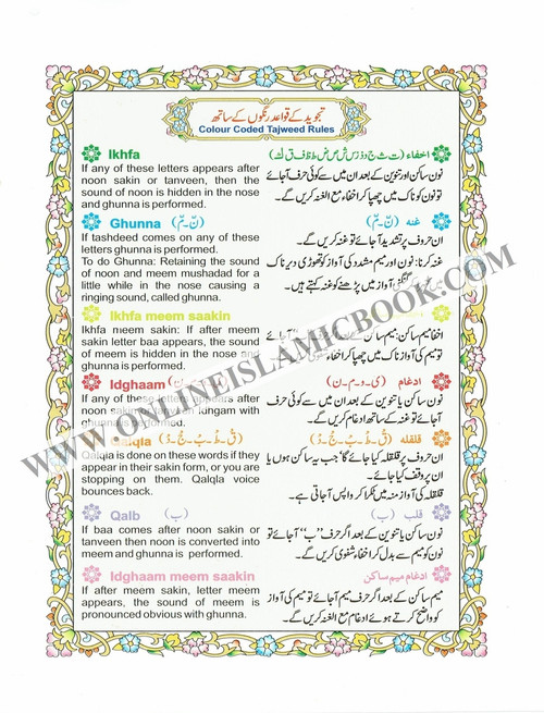 Alif Laam Meem Colour Coded Tajweed Rules : Persian ,Pakistani ,Indian Script