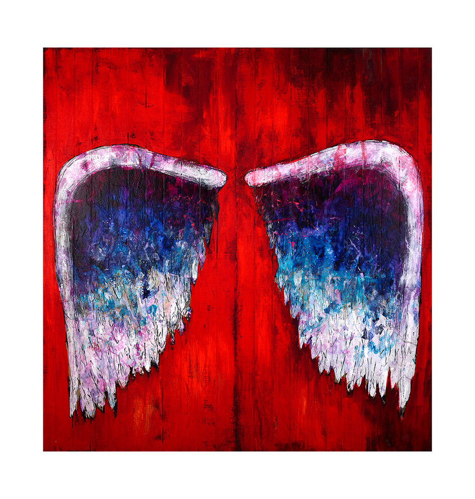 Wings (on red) by Colette Miller