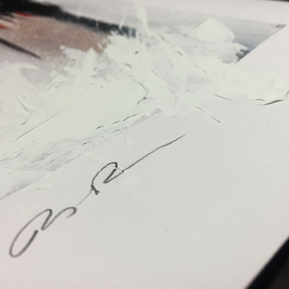 Close up of Ashley Payne's signature on her Silent Outburst Limited Edition Print