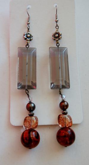 Smokey Crystal and Amber Bead Drop Earrings