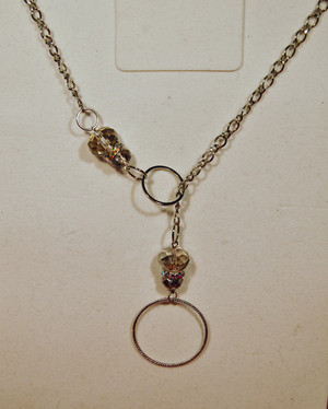 Clear crystal drop circles lariat style necklace