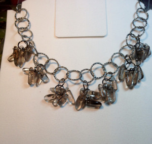 smokey crystal daggers and circles necklace set