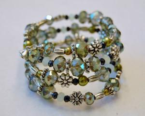 Shades of green crystal wrap bracelet