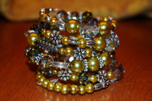 Green crystal wrap bracelet