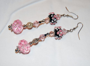 Pink and Black drop earrings