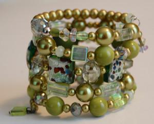 Shades of green wrap bracelet