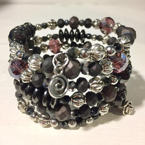 Hematite, Mauve Crystals and Silver Accents Wrap Bracelet