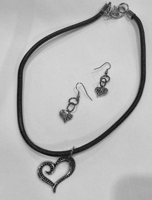 Heart Pendant on a Short Leather Cord Necklace Set