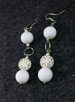 Long White and Rhinestone Earrings
