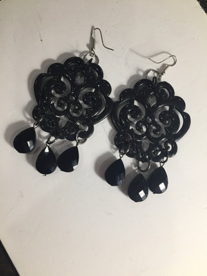 Black Filigree Scroll earrings with Black Crystal drops