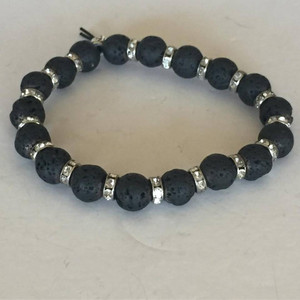Stunning Lava Rock with Rhinestone Spacers Bracelet
