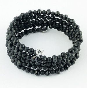 Black Tiny Crystals Wrap Bracelet