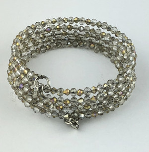 Clear with Iridescent Shimmer Tiny Crystals Wrap Bracelet
