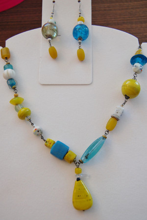 Turquoise and Sunshine glass necklace and earrings set