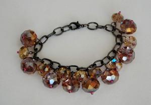 Pink toned crystal drops bracelet
