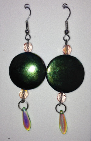 Greenish Gold toned discs with tiny drop earrings
