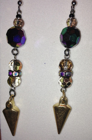 Gold and Dark crystal drop earrings