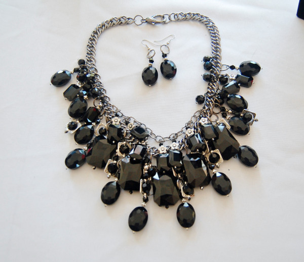 Black Crystal Cluster Statement Necklace