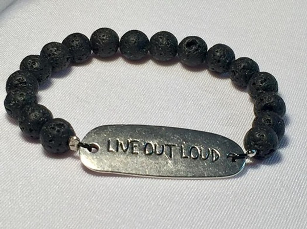 """Live Out Loud"" Lava Rock Bracelet"