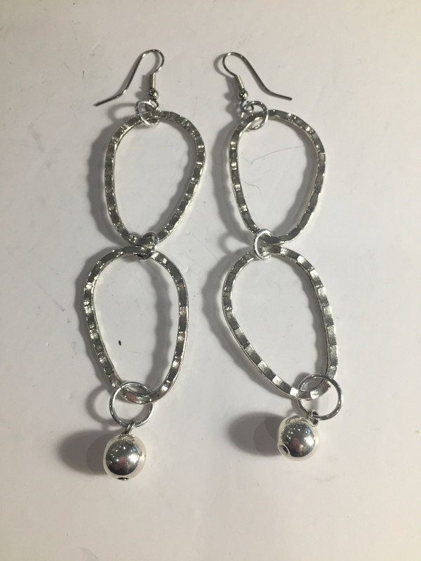 Silver Oblong Loops earrings