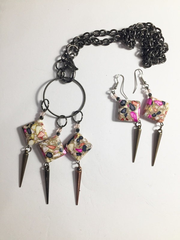 Stunning Mosaic Tiles Necklace and Earrings set