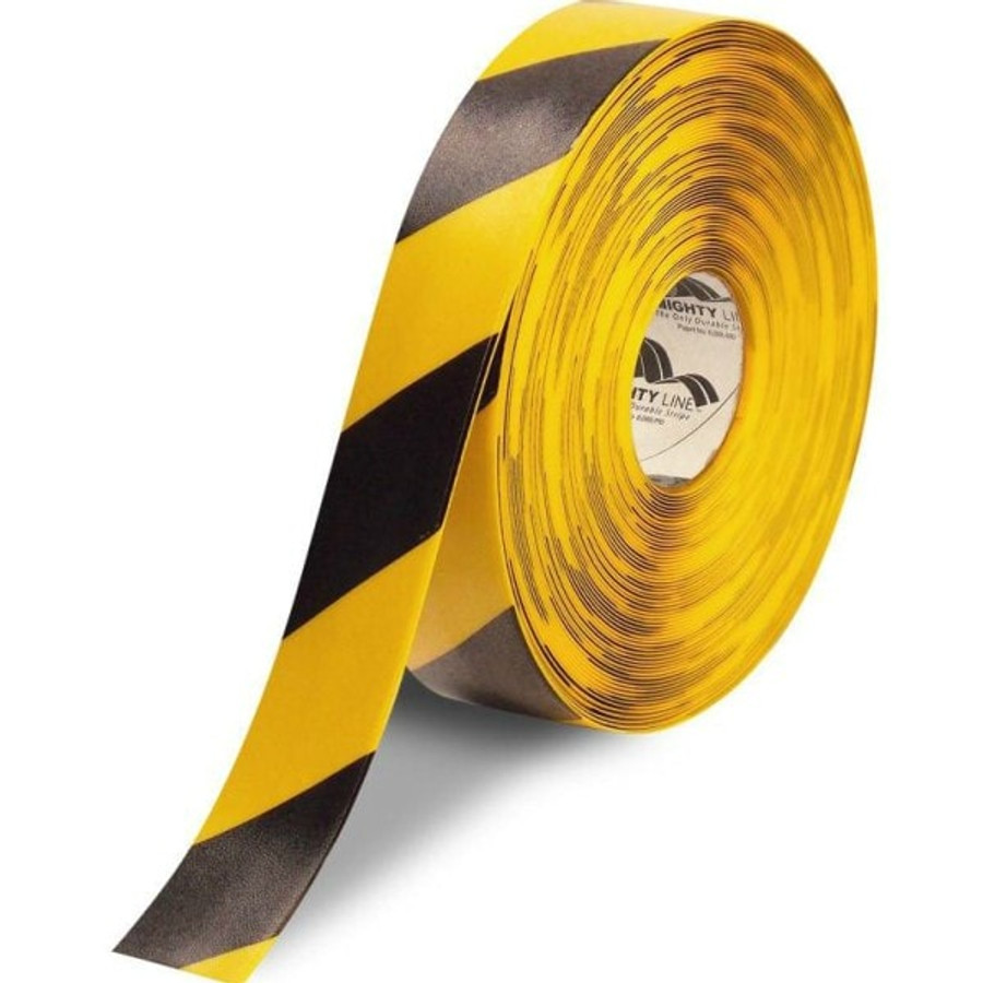 "2"" Yellow floor tape with black diagonal striping"