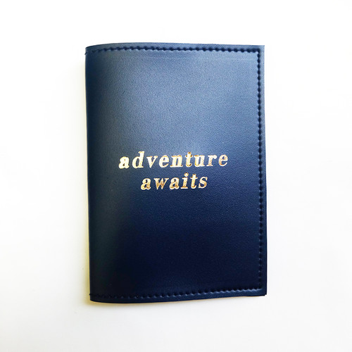 Passport Sleeve: Adventure Awaits  Navy