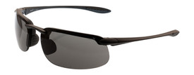Brand X Euro Style Anti-Fog Anti-Scratch Safety Glasses - X1 Series -  Safety glasses with black frame and gray lenses on light background, side view