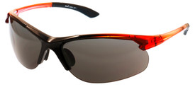 Brand X Sporty Sturdy Frame X2 Series Safety Glasses -  Safety glasses with red frame and silver mirrored lenses on light background, side view