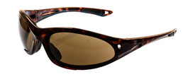 Brand X Edgy Style Fixed Rubber Bridge Safety Glasses - X3 -  Safety glasses with tortoise frame and HD brown lenses on light background, side view