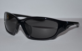 Brand X Sunglass Design Anti-Slip Temples Safety Glasses -  Safety glasses with black frame and gray lenses on light background, side view