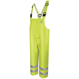 Bulwark CAT 2 FR High Visibility Rain Overall - Front view of yellow Bulwark bib overalls. No Pockets. It has two reflective stripes around the ankles.
