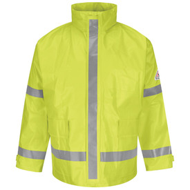 Bulwark CAT 2 FR Hi Viz Water-Repellent Rain Jacket  - Front view of yellow Bulwark jacket with two pockets on the waist. It has a reflective strip going down the center of the jack and one going across the bottom of the jack. It also has two reflective strips on both arm and a Bulwark logo on the left arm.