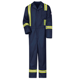 Bulwark FR Hi Viz 9 oz CAT 2 FR Coverall - Front view of Navy Bulwark coveralls 1 pocket on the chest and 3 reflective stripes 1 on the wrist 1 on the ankle and 2 stripes going down the chest till the waist