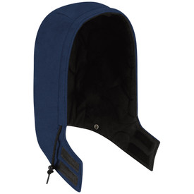 Bulwark FR Insulated CAT 4 Snap On Hood - Front view Navy and black Bulwark hood with a string going around the edge starting at the left side and Velcro on the bottom by the neck
