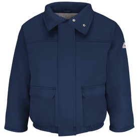 Bulwark CAT 4 FR 7 oz Insulated Bomber Jacket - Front view of navy Bulwark jacket with two pockets on the waist and a zipper going down the front. It has three buttons on the collar and a Bulwark logo on the left arm.