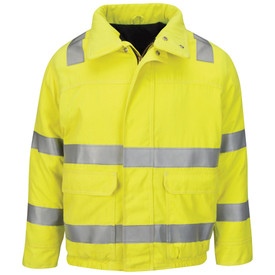 Bulwark CAT 3 High Viz 7 oz FR Lined Bomber Jacket - Front view of yellow Bulwark jacket with 2 stripes on the shoulders,2 stripes on the torso. Also has 2 stripes on both arms