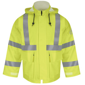 Bulwark 10 oz FR High Viz CAT 2 Hooded Rain Jacket - Front view of yellow Bulwark jacket with two pockets on the waist. There is two reflective strips going down the shoulders, one going across the waist, and two reflective strips on each arm. It has a hood with draw string and a Bulwark logo on the left arm.