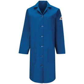 Bulwark Women's FR Button Front CAT 1 Lab Coat - Front view of long blue Bulwark lab coat with six buttons going down the front of the coat. It has one pocket on the left chest and two pockets on the lower waist.