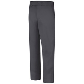 Bulwark CAT 2 FR Button Closure Work Pants - Front view of Charcoal Bulwark work pants with a button and belt loops on the waist.