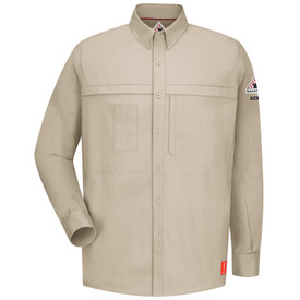 Bulwark FR CAT 1 Long Sleeve Shirt - Front view of tan Bulwark long sleeved work shirt with seven buttons going down the front. There are two pockets on the waist and a Bulwark logo on the left arm.