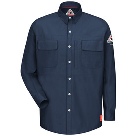 Bulwark FR CAT 1 Long Sleeve Patch Pockets Shirt - Front view of dark blue Bulwark long sleeved work shirt with  seven buttons going down the front. There is three pockets on the chest, one on the right side and two on the left side. There is also a Bulwark logo on the left arm.