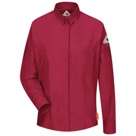 Bulwark Women's CAT 1 FR Long Sleeve Shirt - Front view of red Bulwark long sleeved work shirt with seven buttons going down the front. There are two buttons on each arm and a Bulwark logo on the left arm.