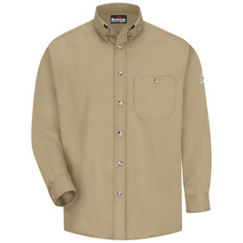 Bulwark CAT 1 FR Long Sleeve 5.25 oz Dress Shirt - Front view of khaki Bulwark long sleeve work shirt with six buttons going down the front and a pocket on the left side of the chest with a button on the top. There is also a Bulwark logo on the left arm.